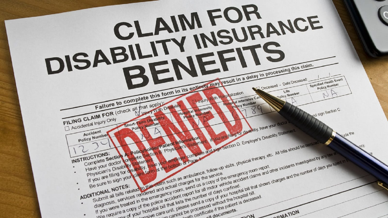 Denied Social Security Disability Claim Stock Photo