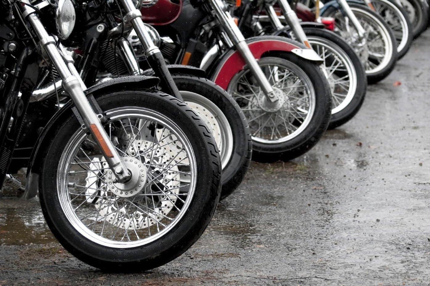 Line Of Parked Motorcycles Stock Photo