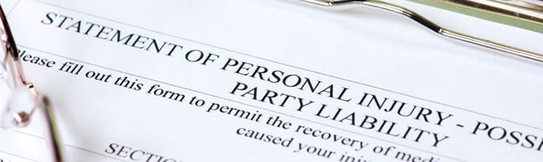 State of Personal Injury Document Stock Photo