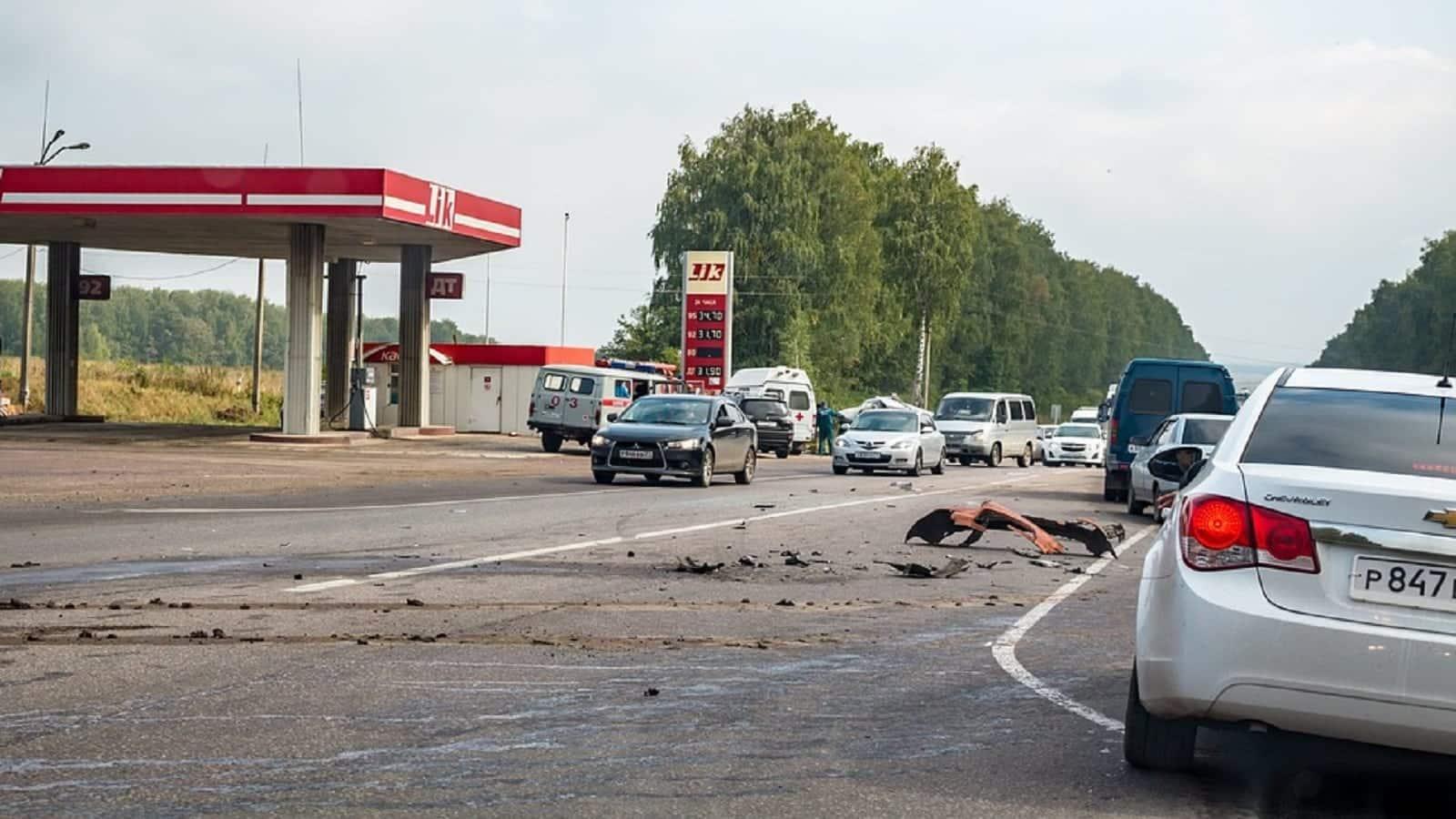 Car Accident Debris Stock Photo