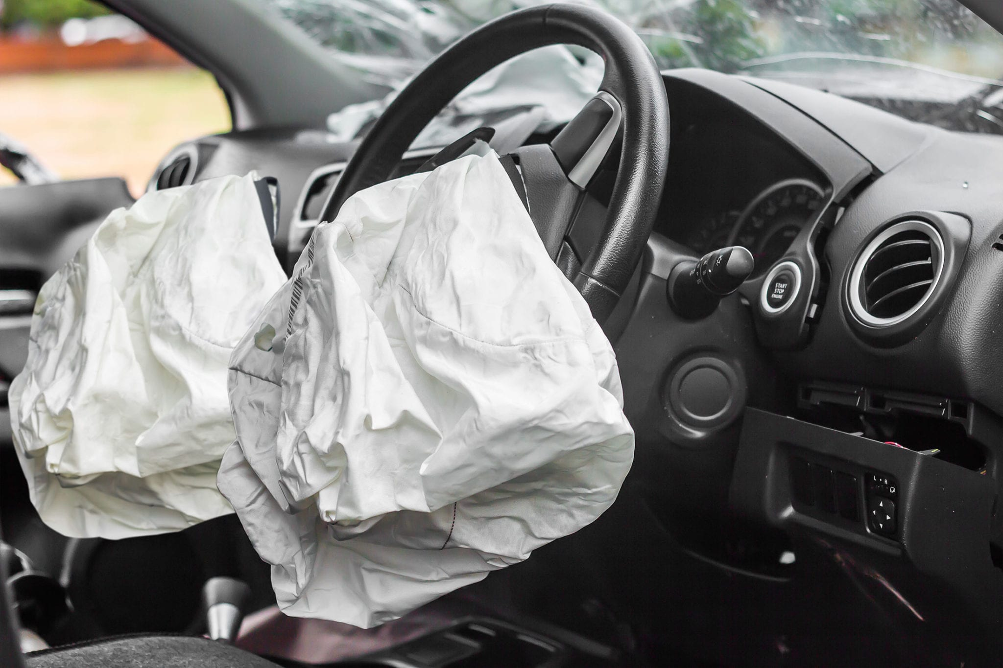Airbag Deployment After A Car Accident Stock Photo