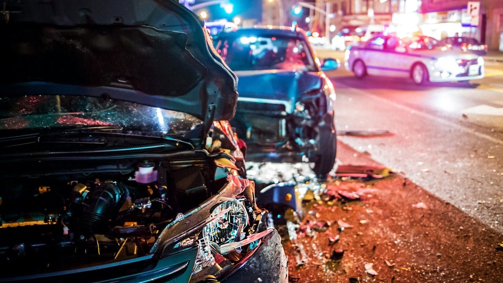 Serious Car Accident At Night Stock Photo