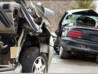Aftermath Of A Severe Car Accident Stock Photo