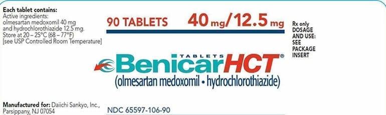 Benicar Prescription Drug Labels Stock Photo
