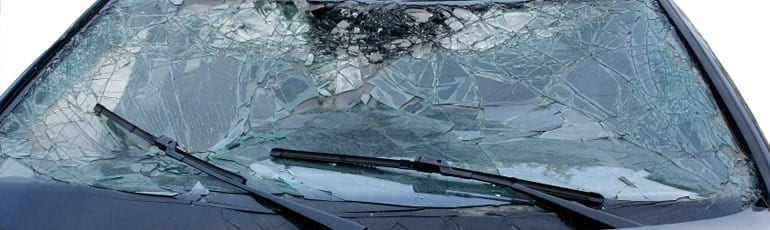 Broken Car Windshield Stock Photo