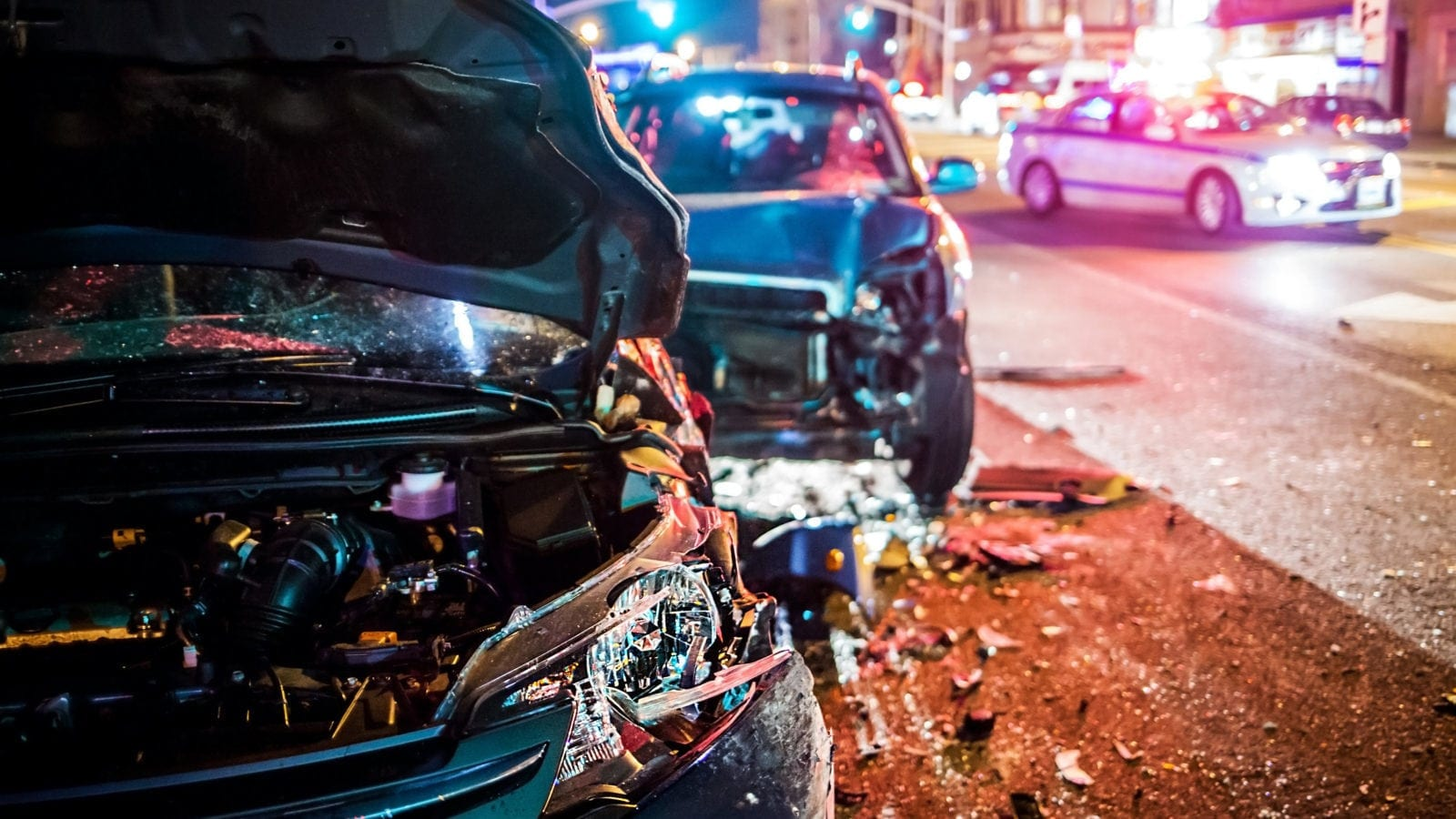 Severe Car Accident At Night Stock Photo