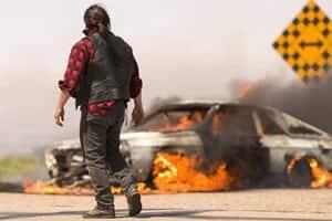 Driver Examining Car On Fire Stock Photo