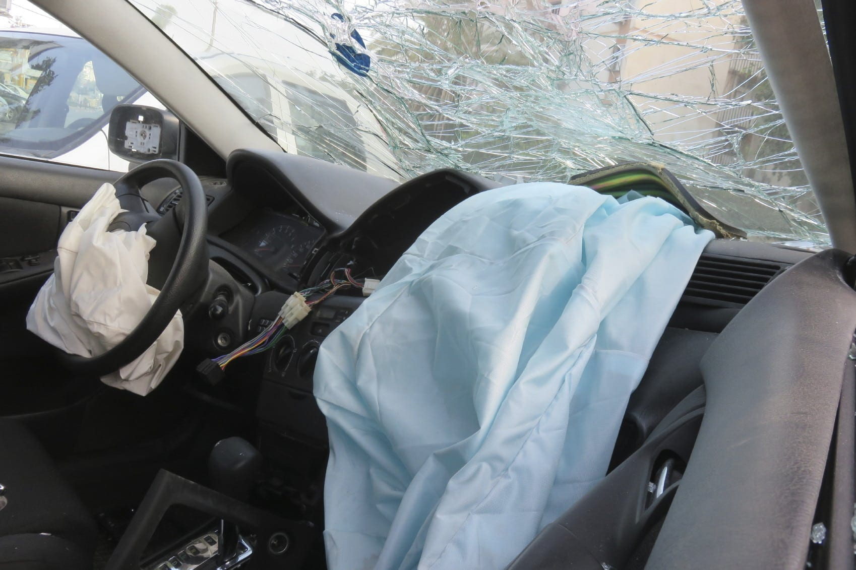 Broken Windshield After Car Accident Stock Photo