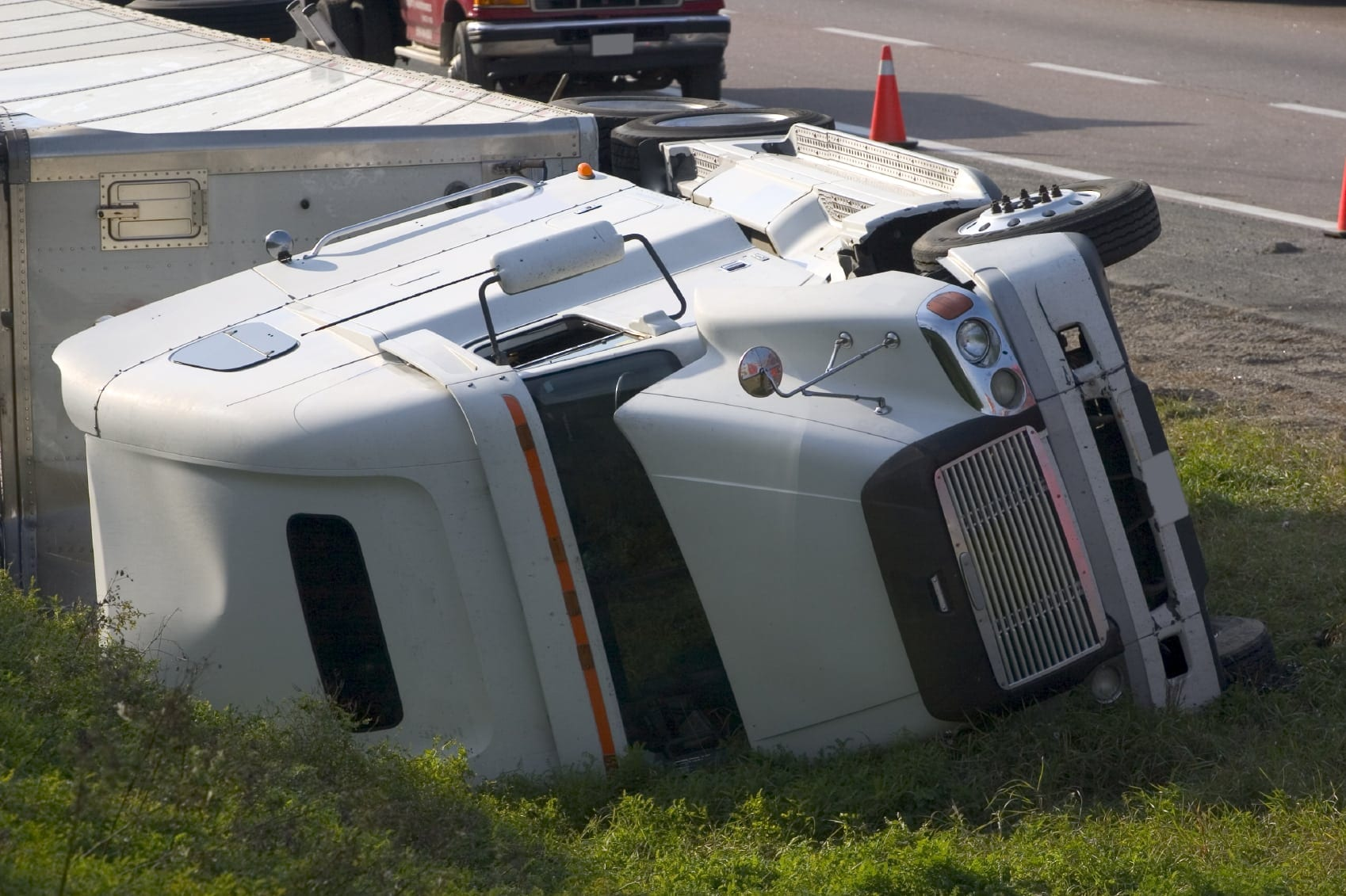 18-wheeler Rollover Accident Stock Photo