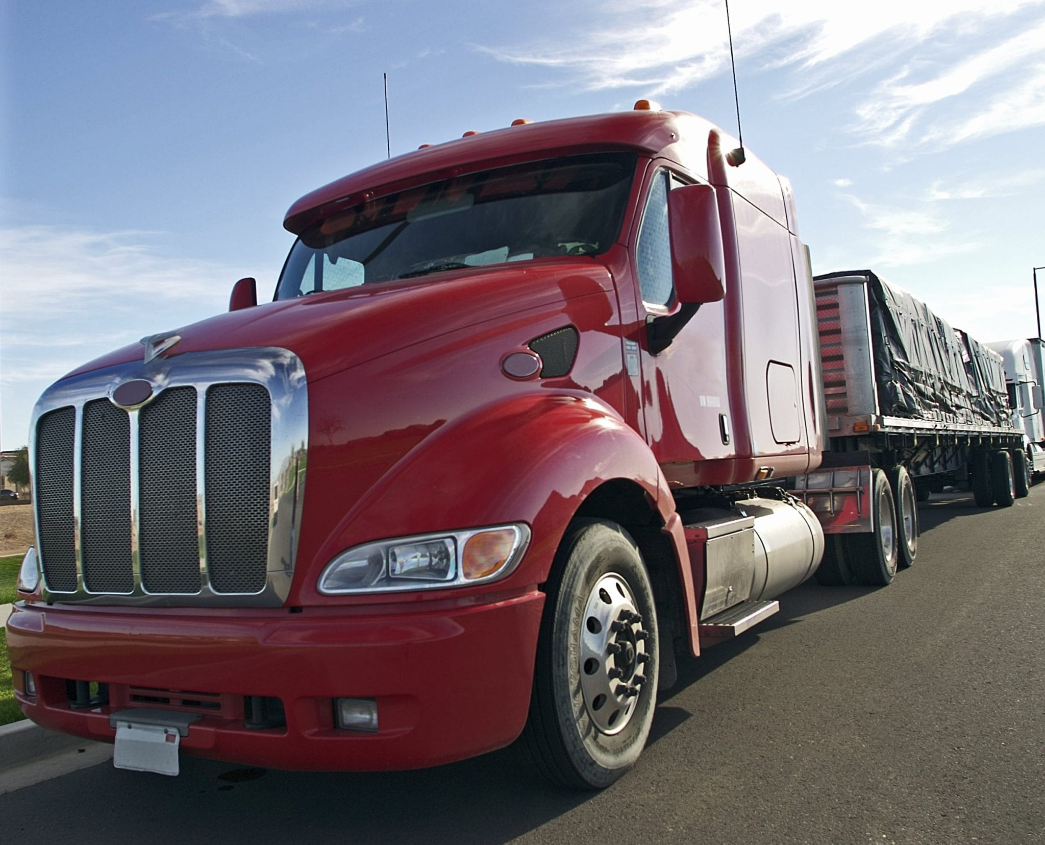 Parked Red 18-wheeler Truck Stock Photo