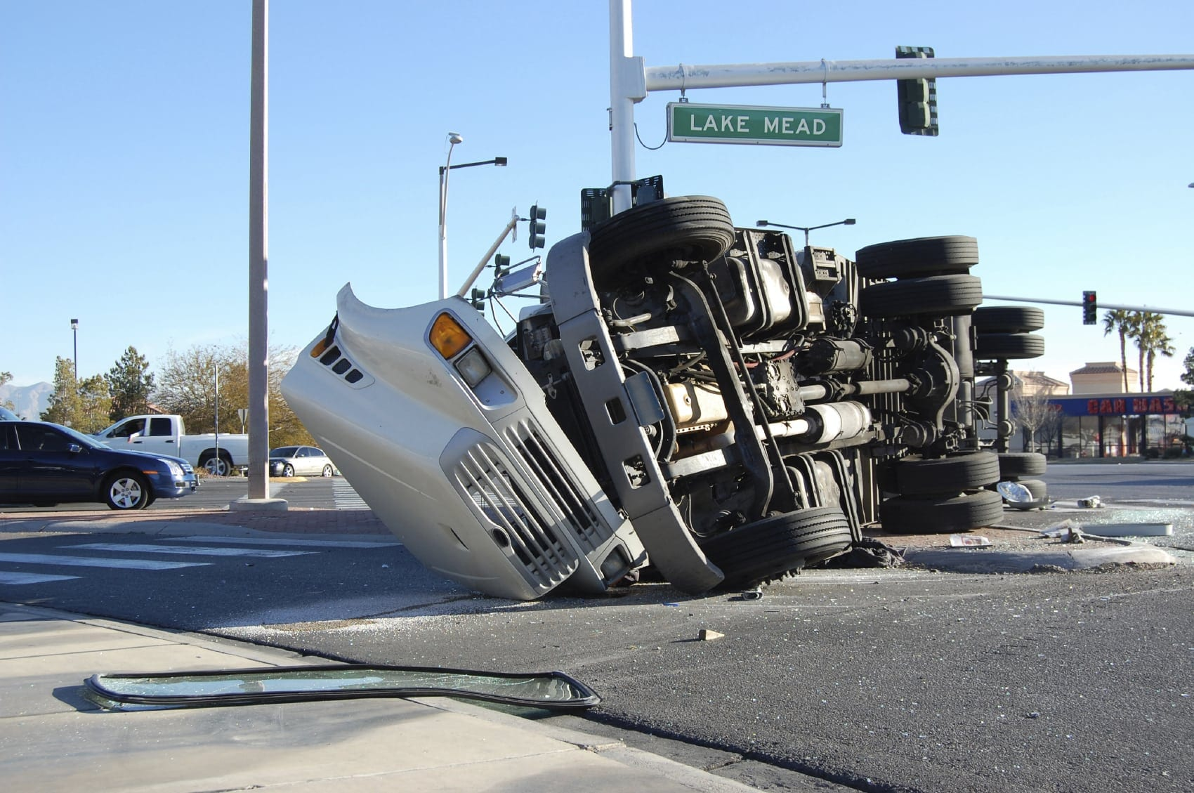 White Overturned Semi-truck Stock Photo