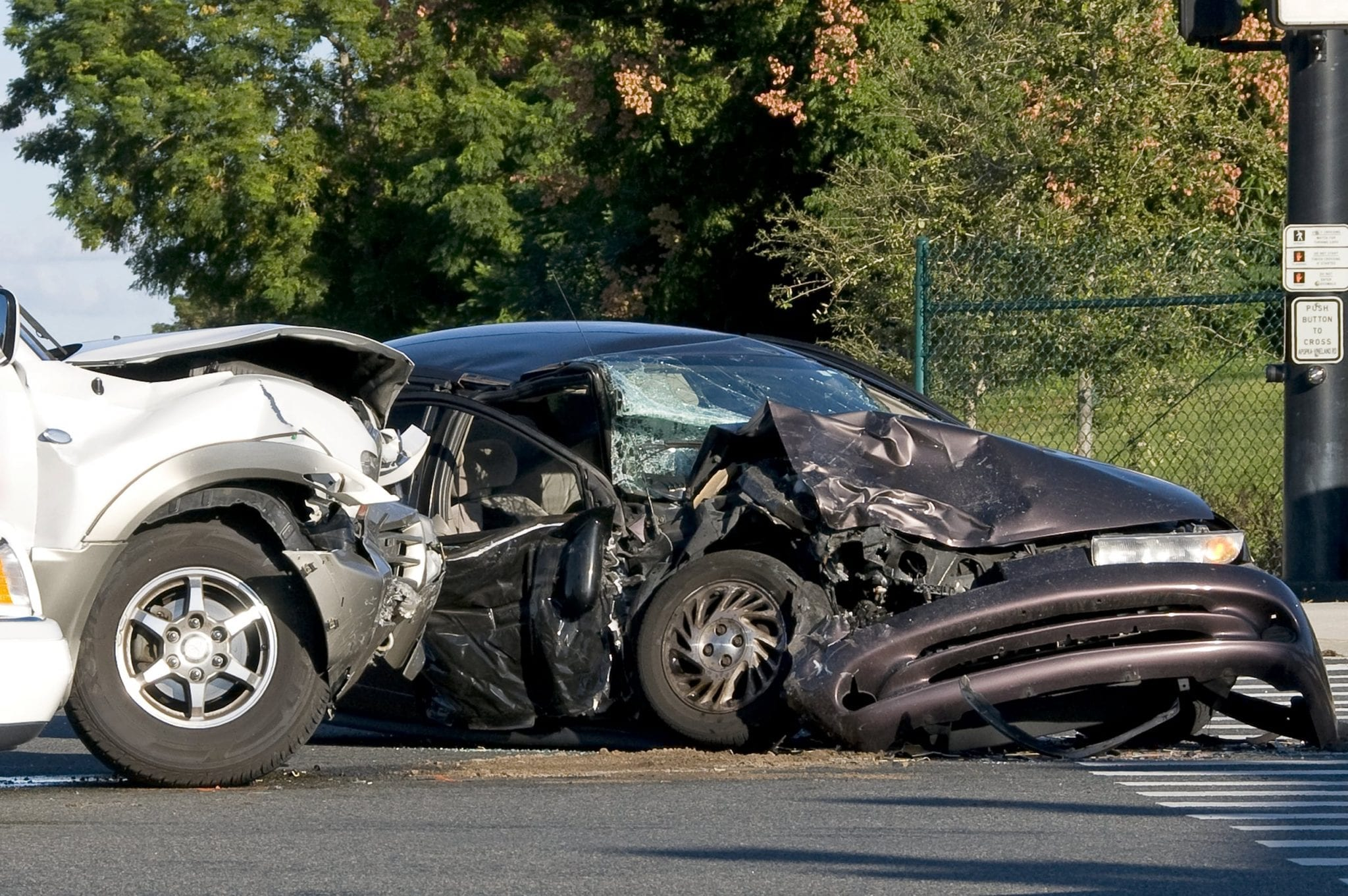 Aftermath Of An Auto Accident At An Intersection Stock Photo