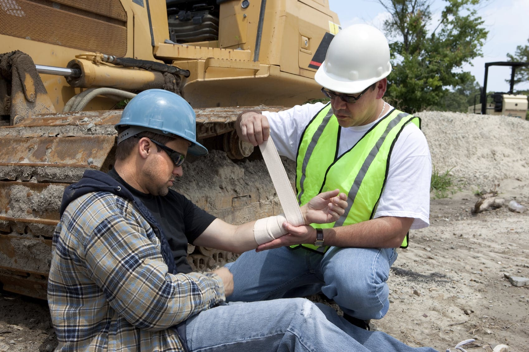 Construction Worker With Injured Arm Stock Photo