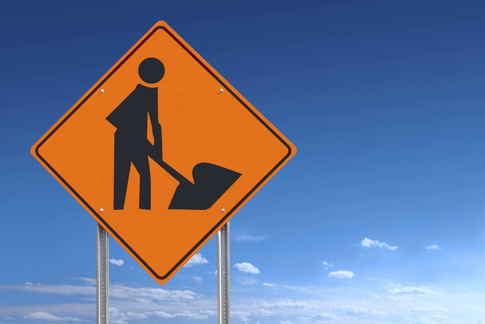 Construction Zone Warning Sign Stock Photo