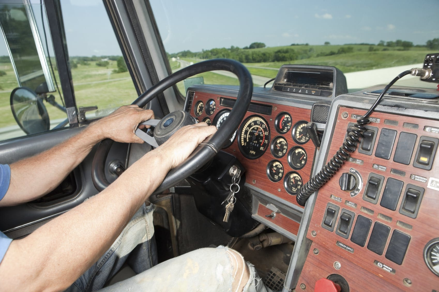 Interior Photo Of The Cab Of An 18-wheeler Truck
