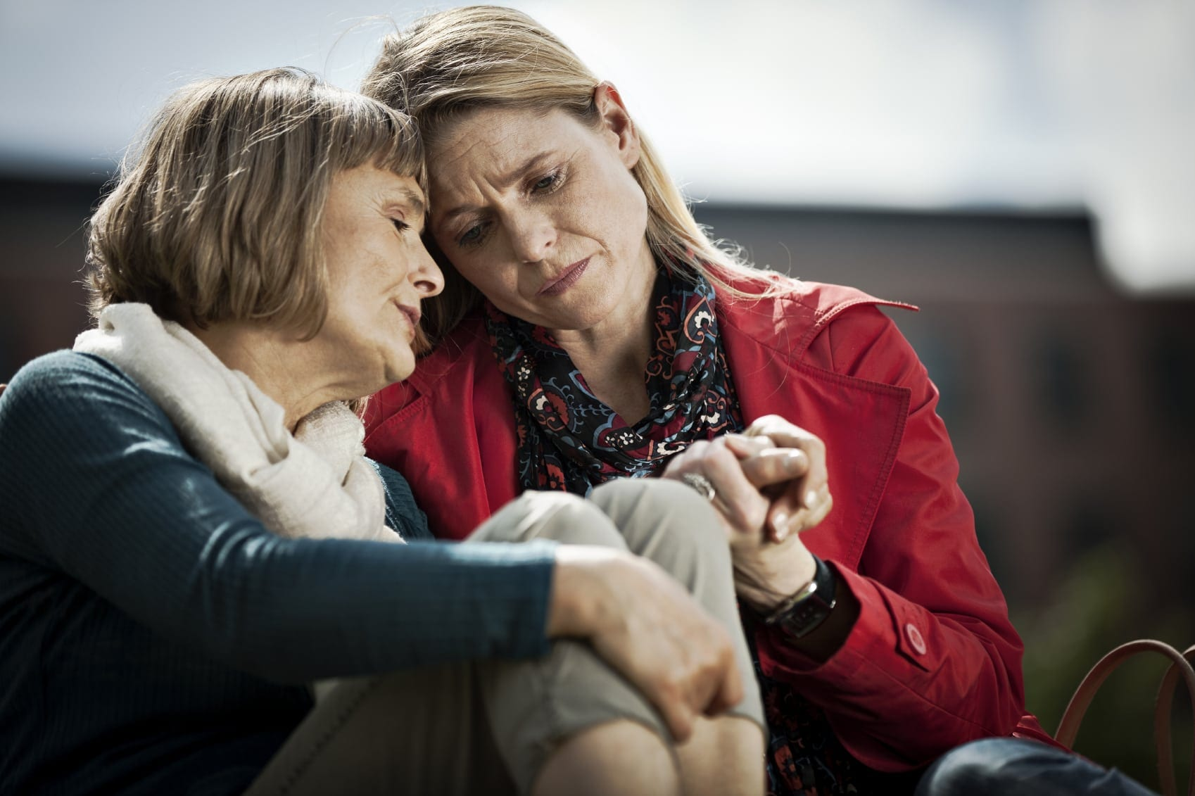 Middle-aged Woman Consoling Each Other Stock Photo