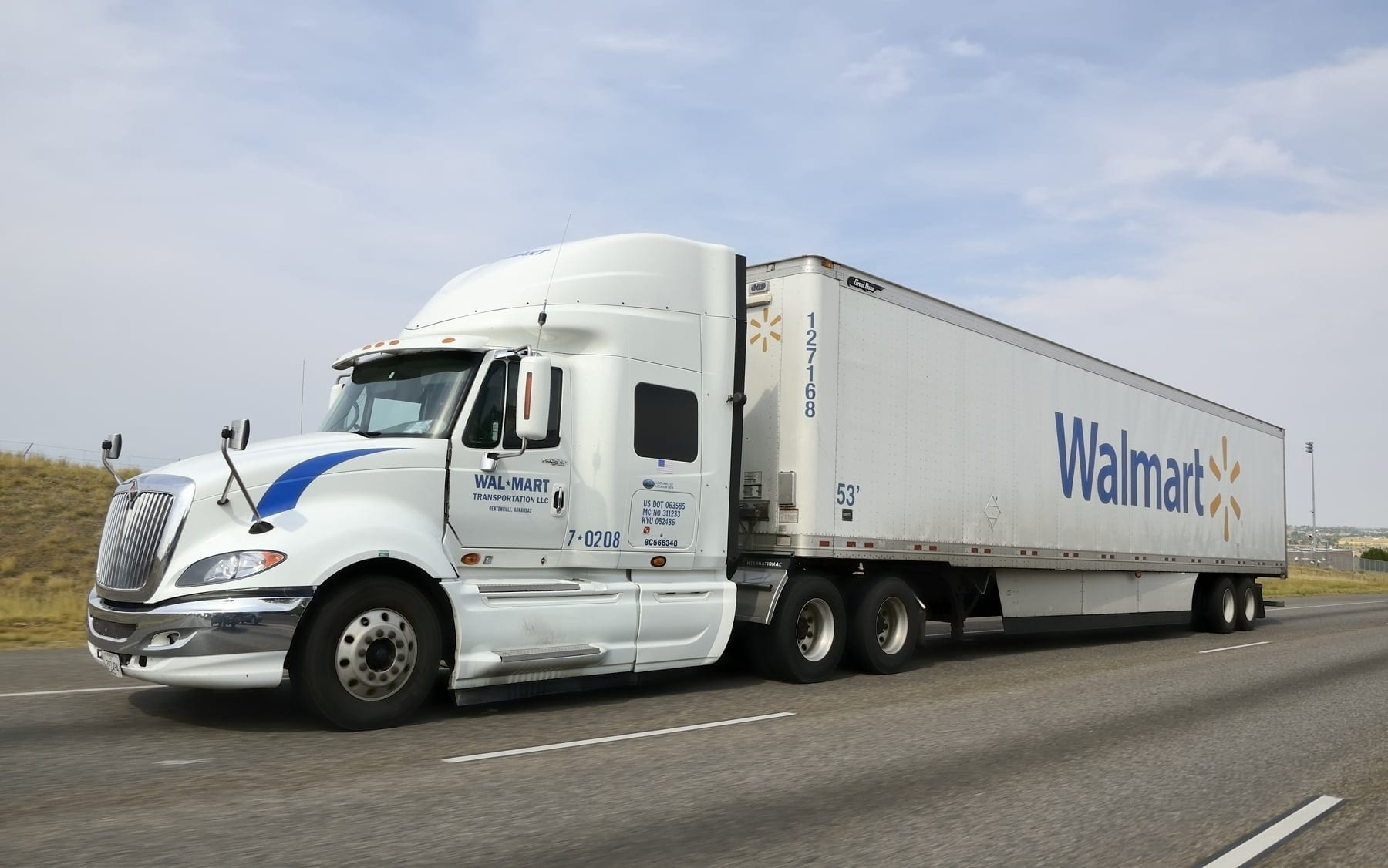 Walmart 18-wheeler Truck Driving On The Interstate Stock Photo