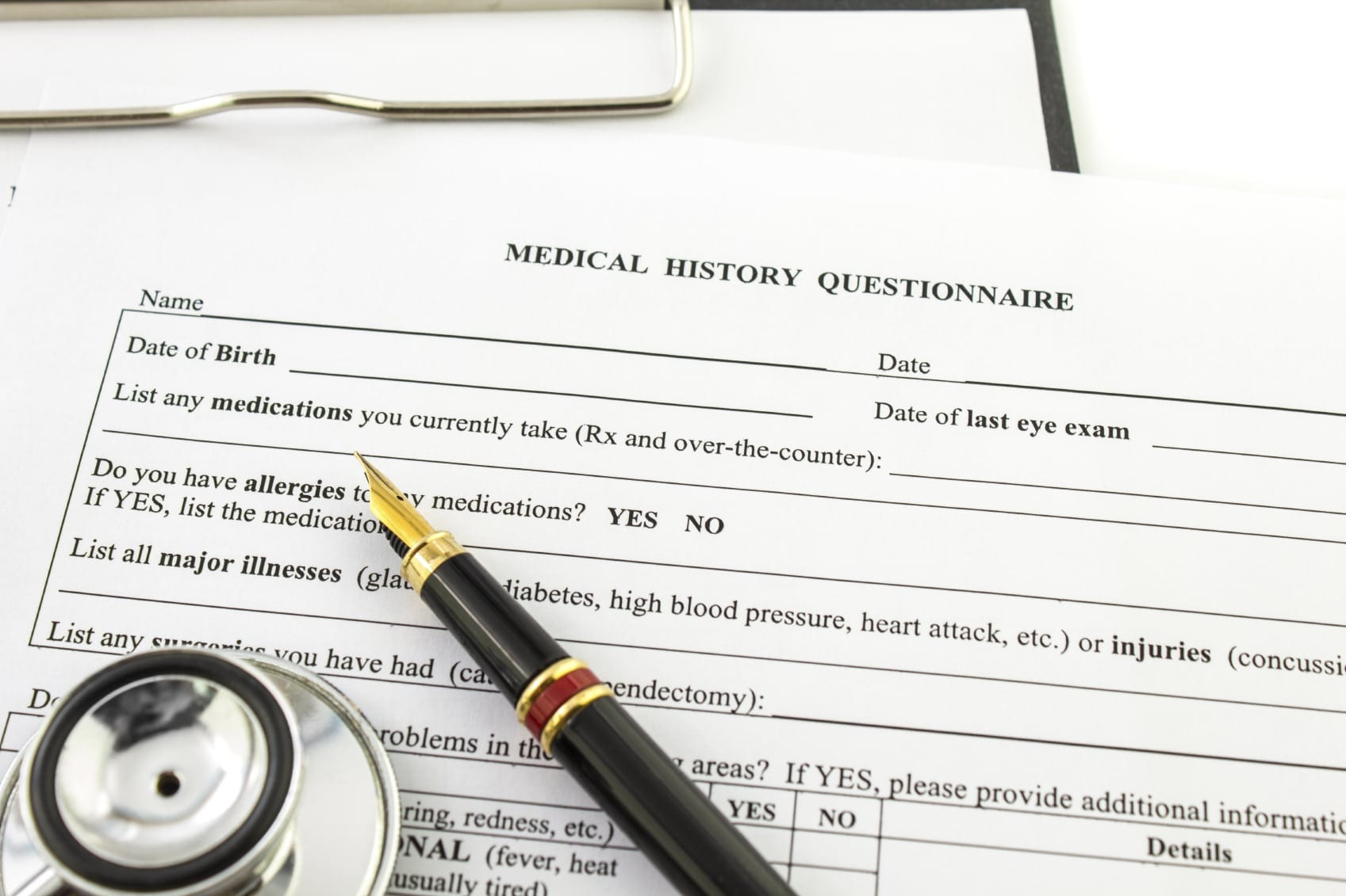 Medical History Questionnaire Stock Photo
