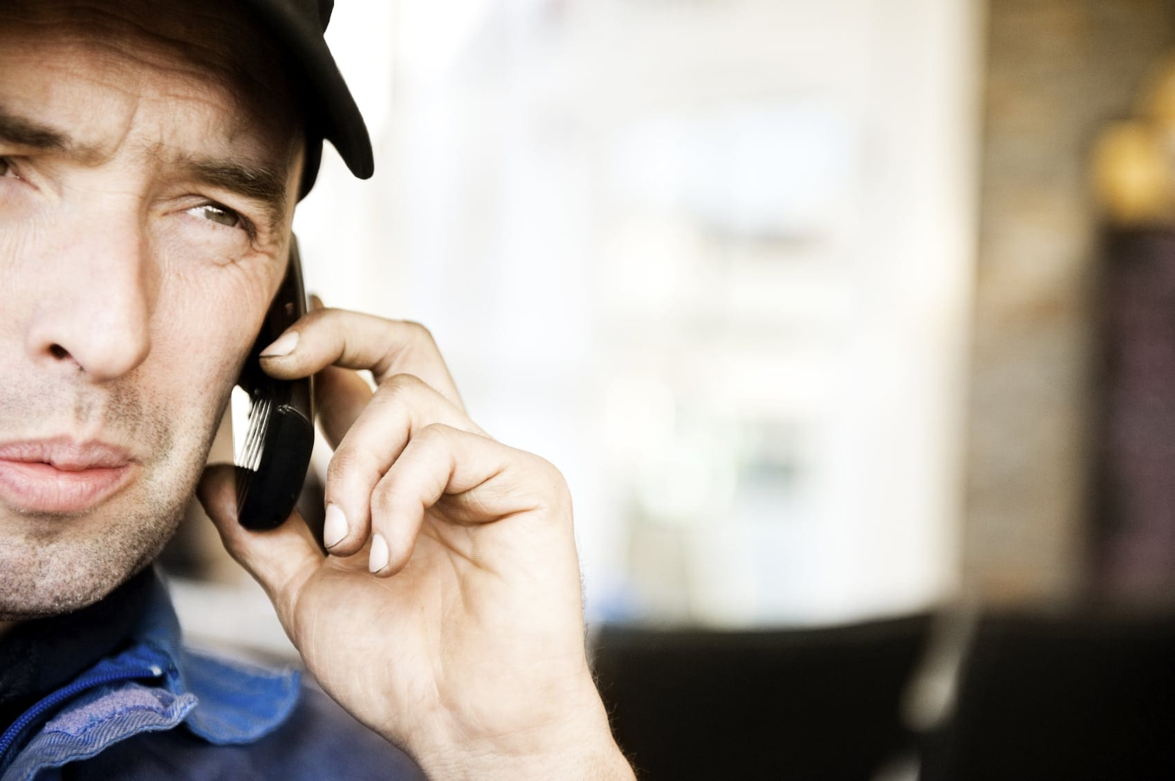 Man Making A Phone Call On Cell Phone Stock Photo