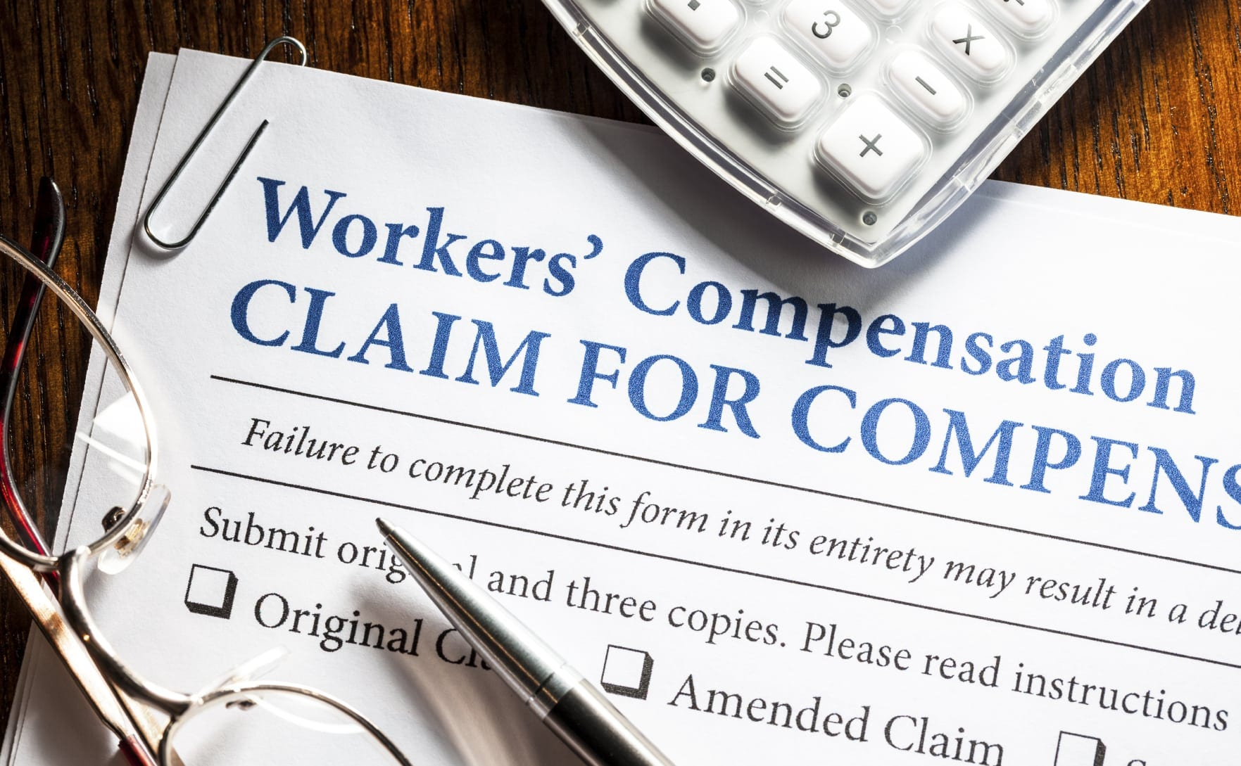 Blank Workers' Compensation Form Stock Photo