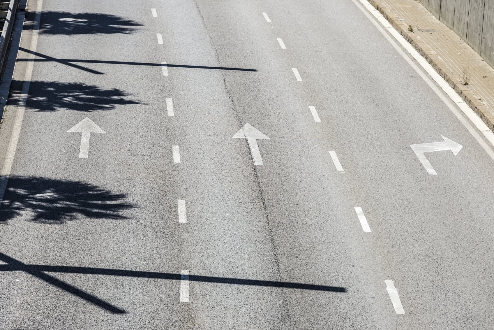 Painted Arrows On A Highway Stock Photo