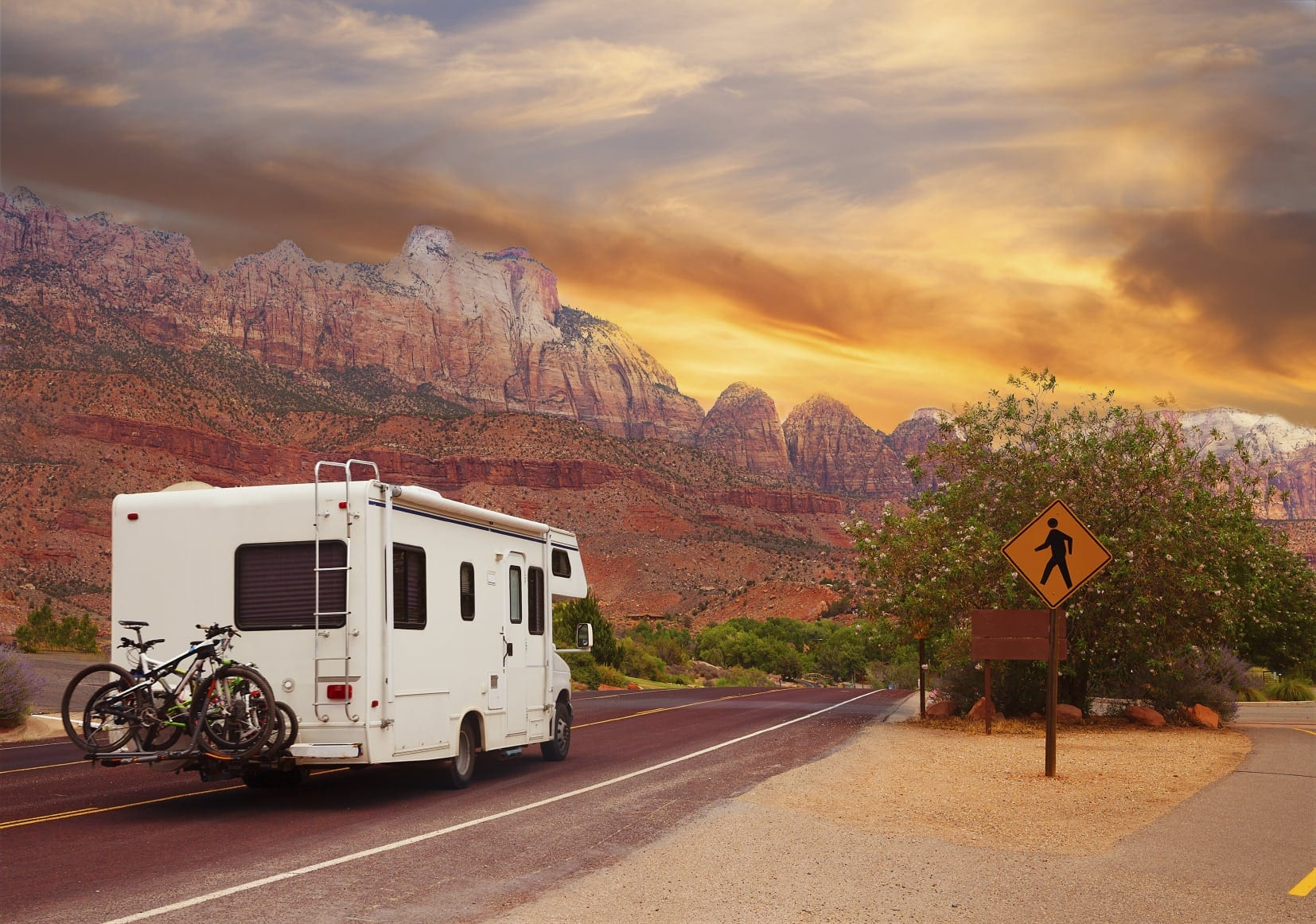 Motor home Driving Through The Western United States Stock Photo