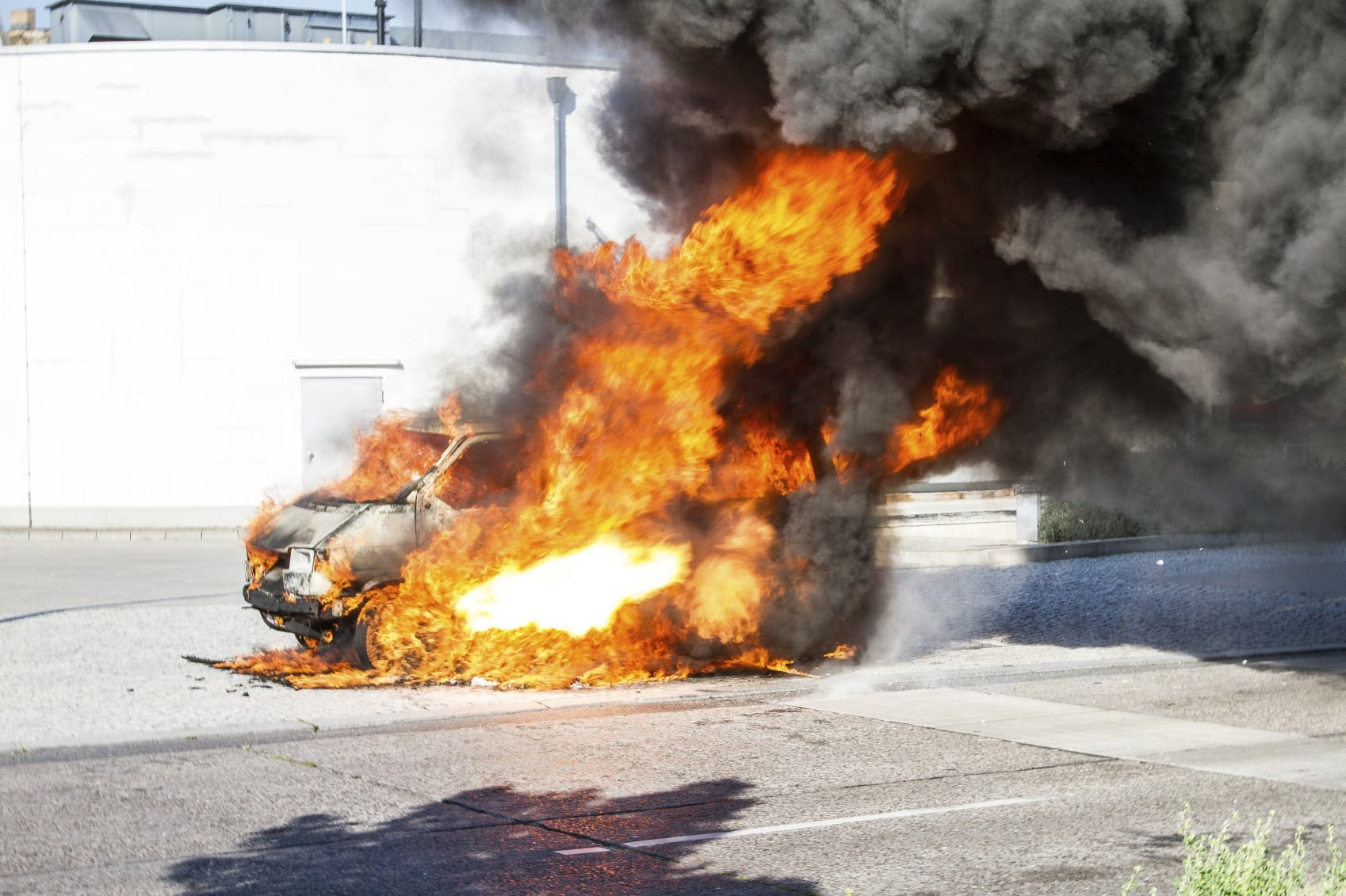 Vehicle On Fire Stock Photo