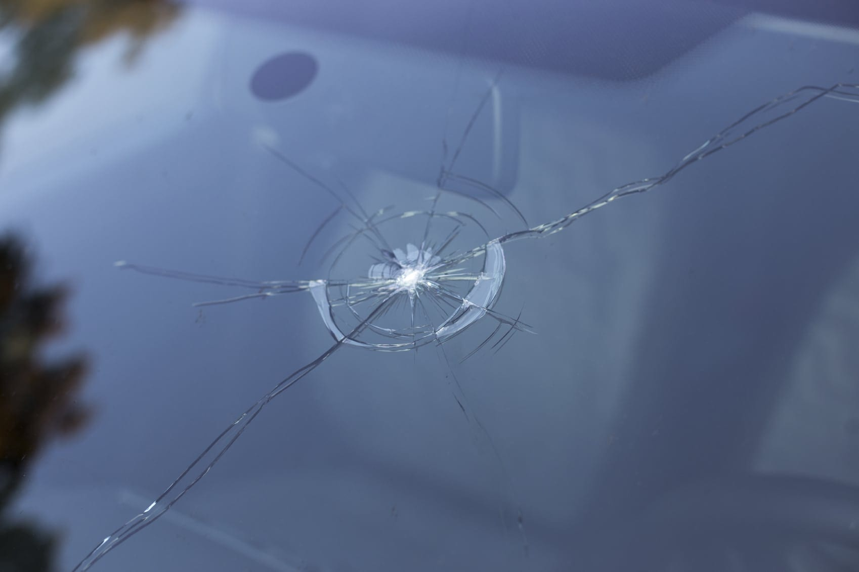 Cracked Windshield On A Car Stock Photo