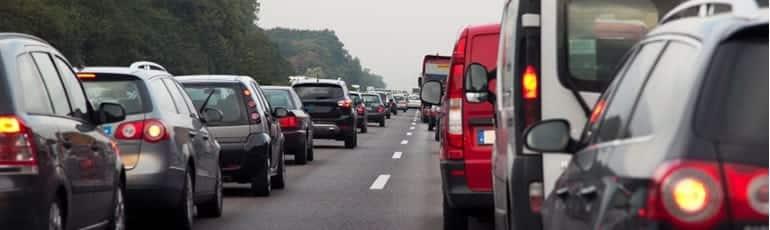 Large Traffic Jam On An Interstate Stock Photo
