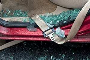 Broken Glass After Car Accident Stock Photo