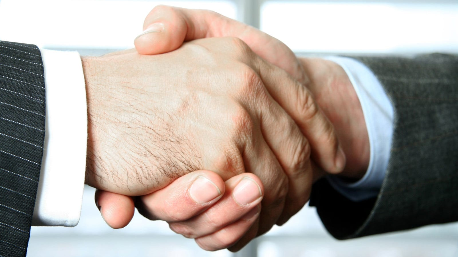 Lawyer Shaking Hands With Insurance Representative Stock Photo