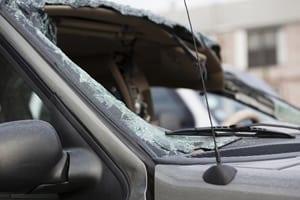 SUV Broken Windshield Stock Photo