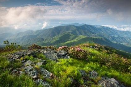 Beautiful Mountain Range In North Carolina Stock Photo