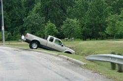 Pickup Truck Stuck In A Ditch Stock Photo