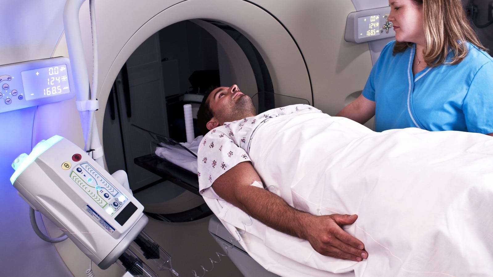 Man Receiving Full Body Scan Stock Photo
