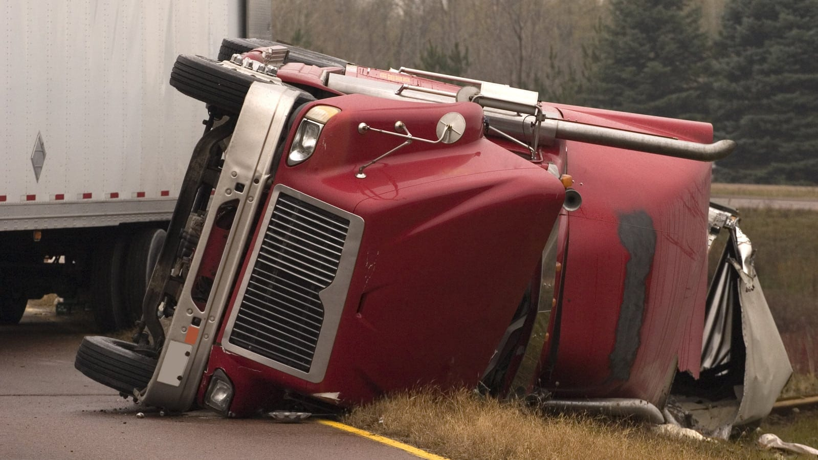 Jackknife Truck Accident Stock Photo