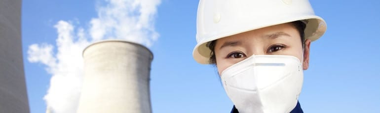 Oil and Gas Worker Wearing A Protective Mask Stock Photo
