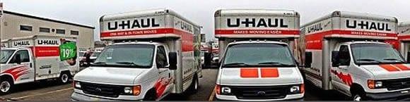 Parked Uhaul Vehicles Stock Photo