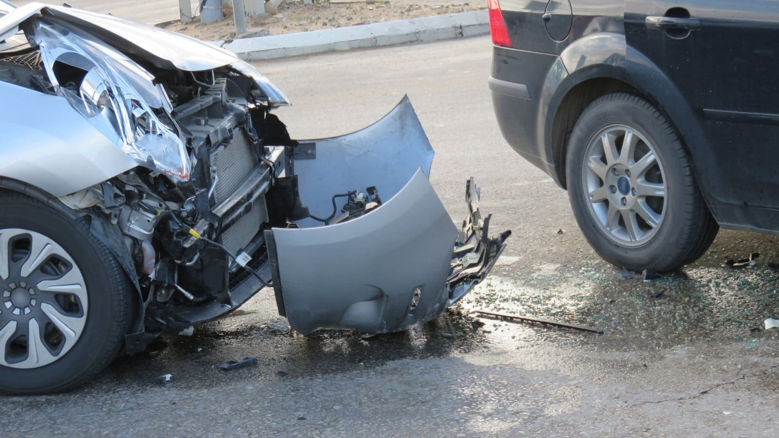 Auto Accident Between Black and Grey Car Stock Photo