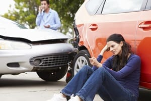 Rear End Car Accident Aftermath Stock Photo