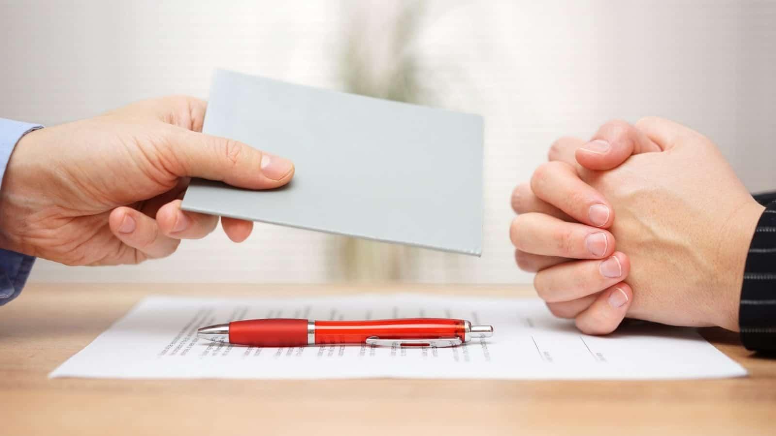 Employer Firing An Employee Stock Photo