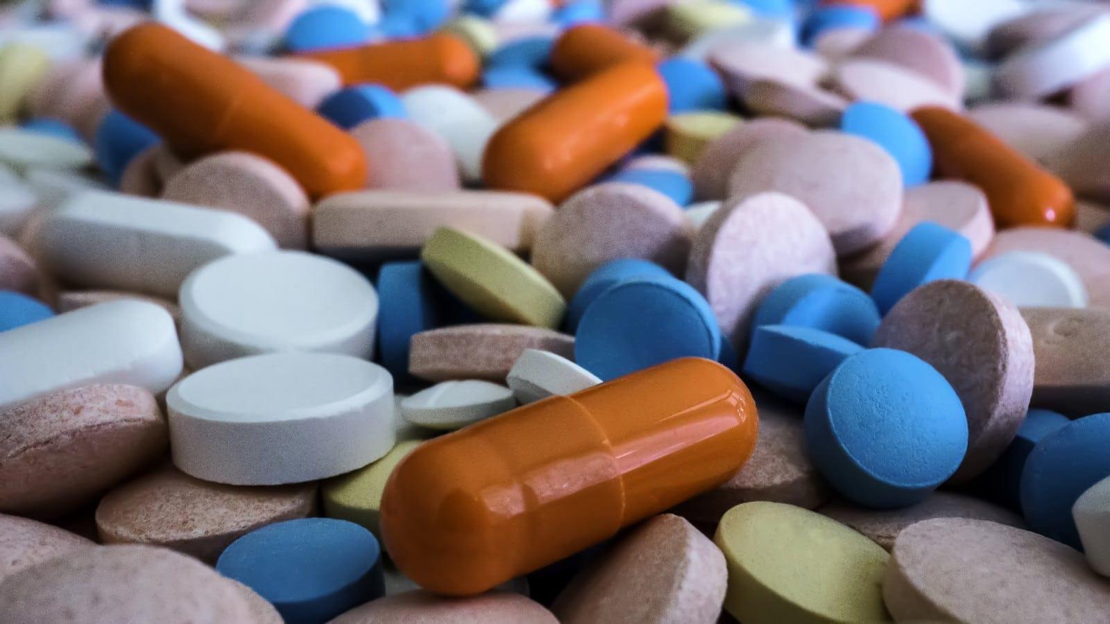 Heap Of Colorful Prescription Pills Stock Photo
