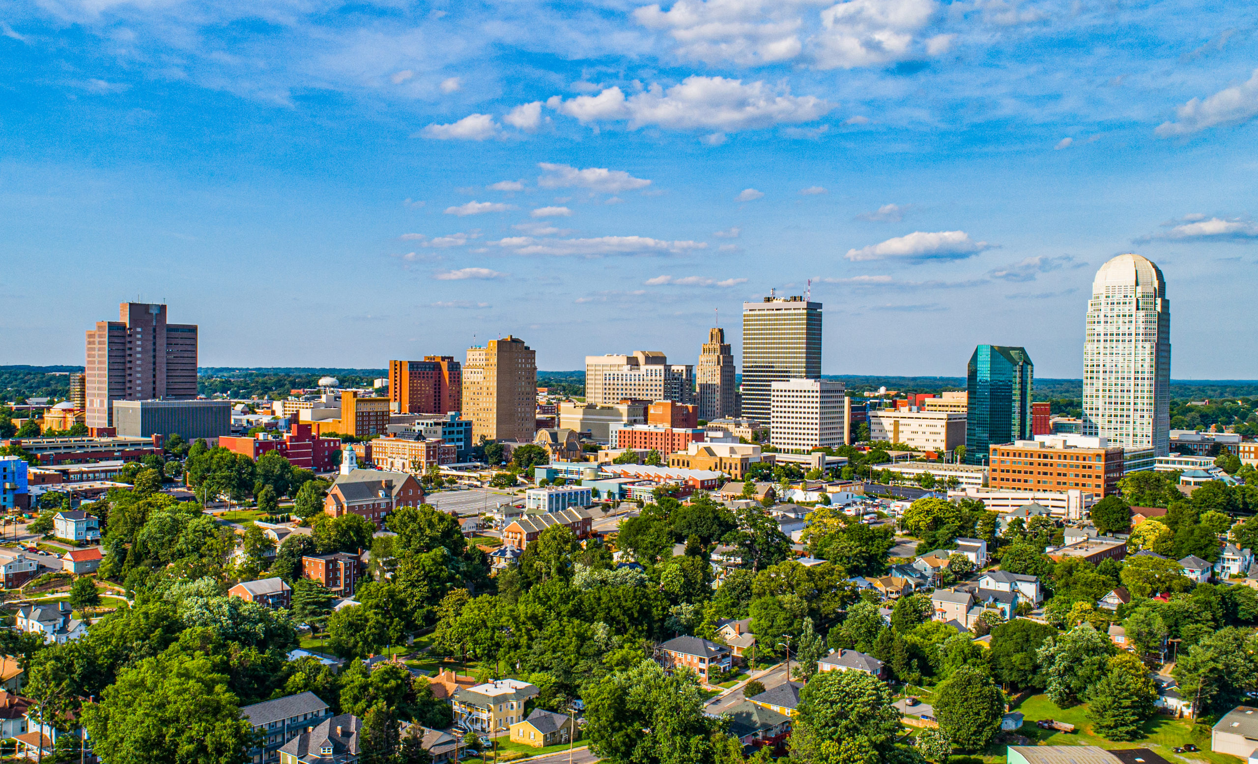 aerial view of Winston-Salem, North Carolina