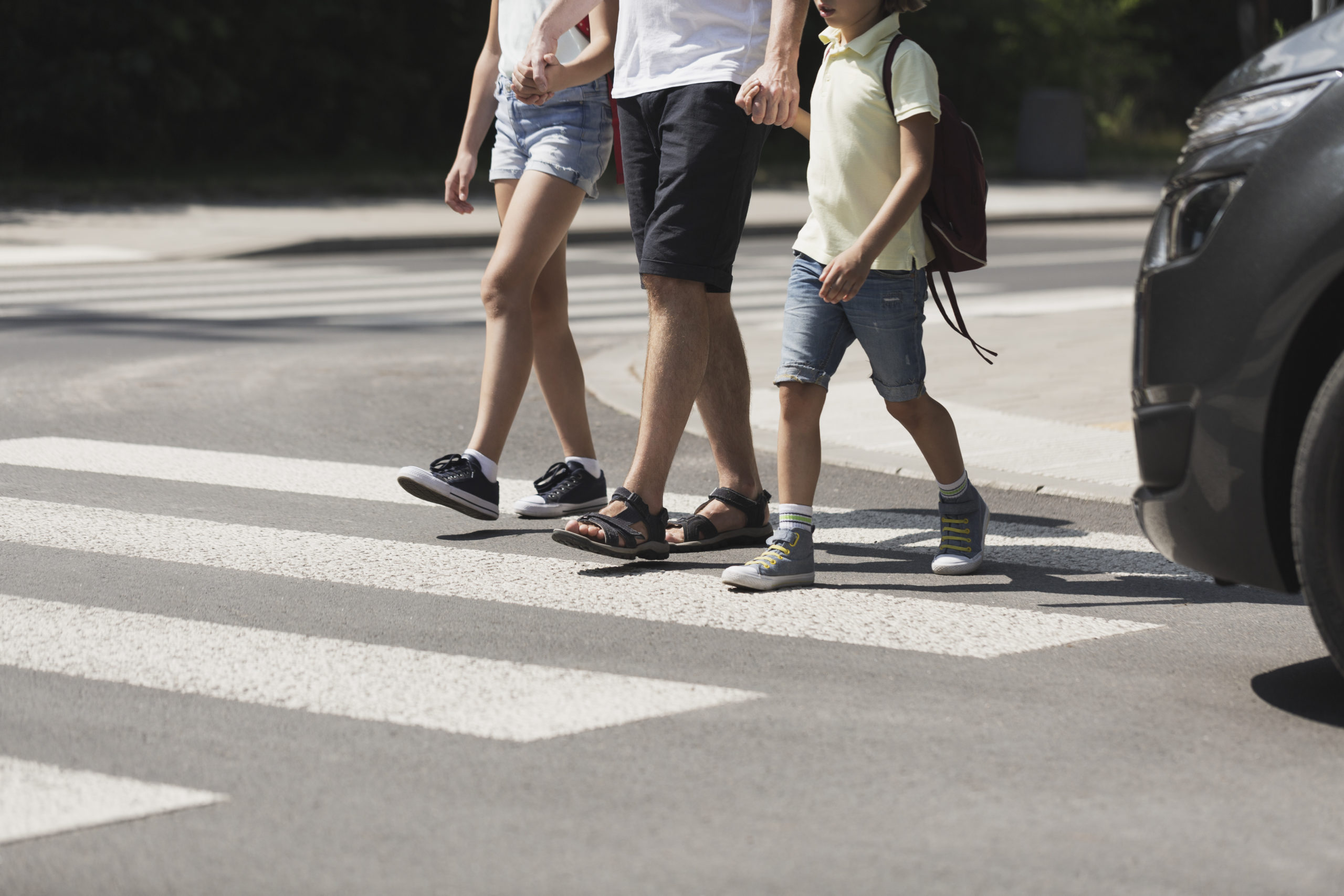 pedestrians crossing the street in Winston-Salem