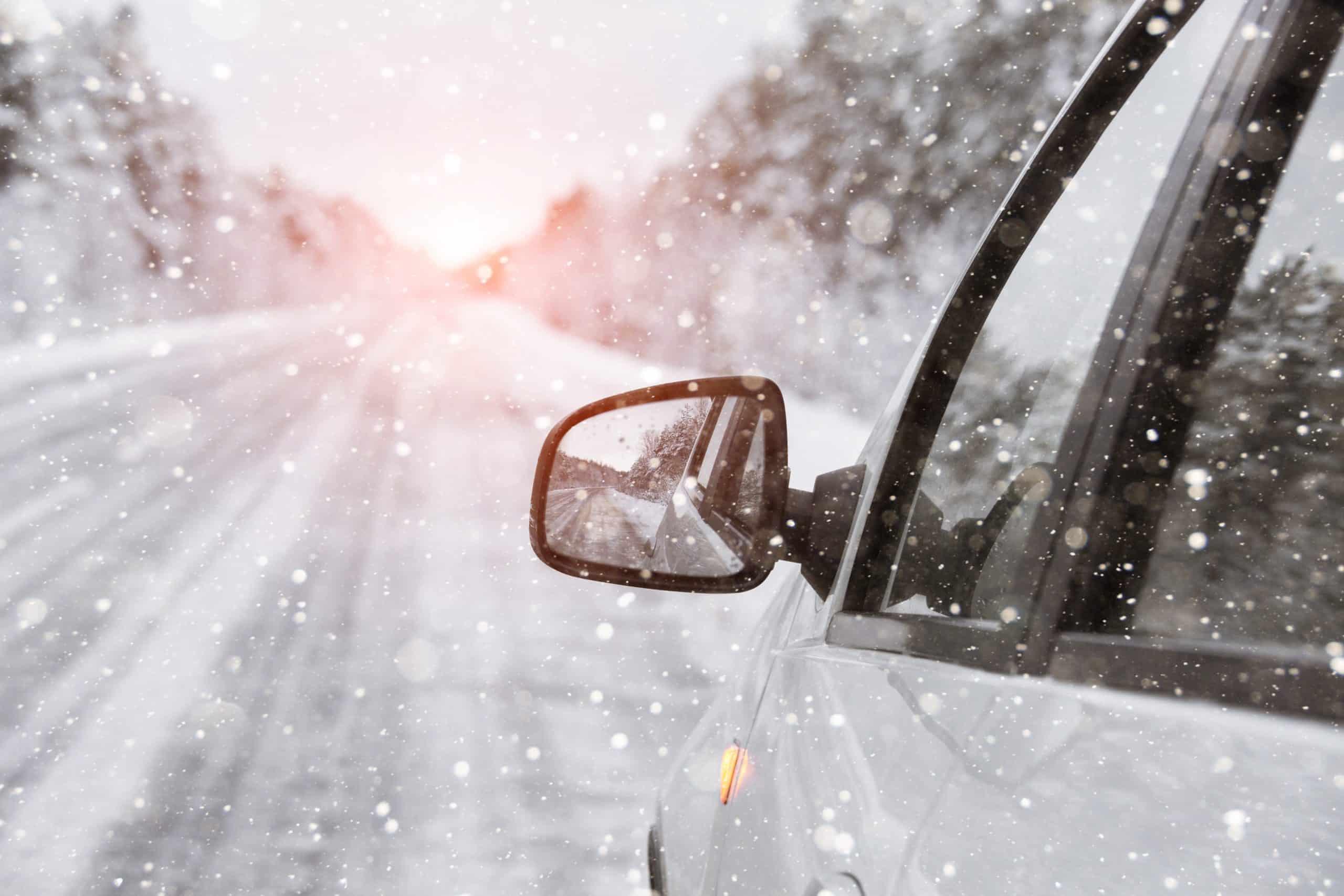 cars navigating winter weather in Winston-Salem